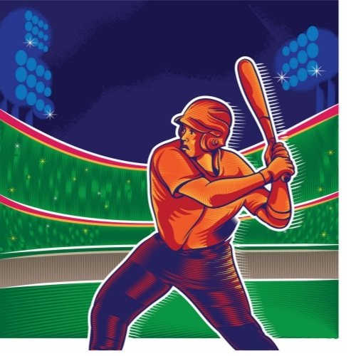 Baseball Cartoon Swing Batter