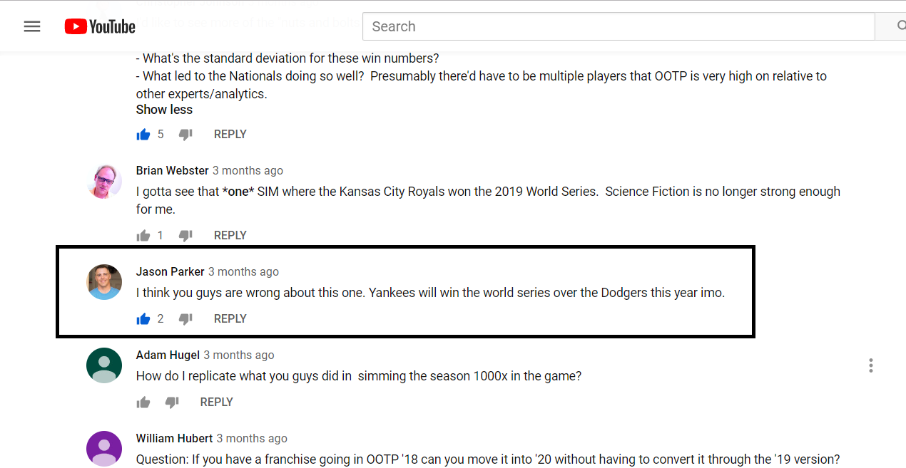 YouTube Comment about Yankees vs Dodgers