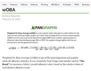 FanGraphs Woba Calculation
