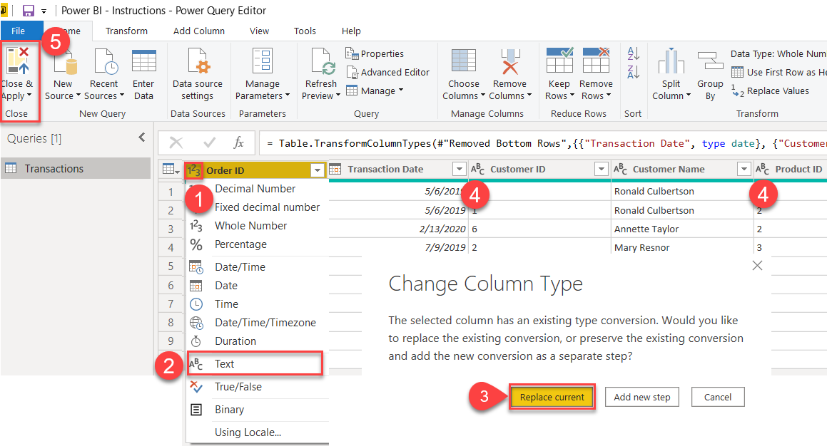 Change Order ID from Numberic to Text in Power Query Editor