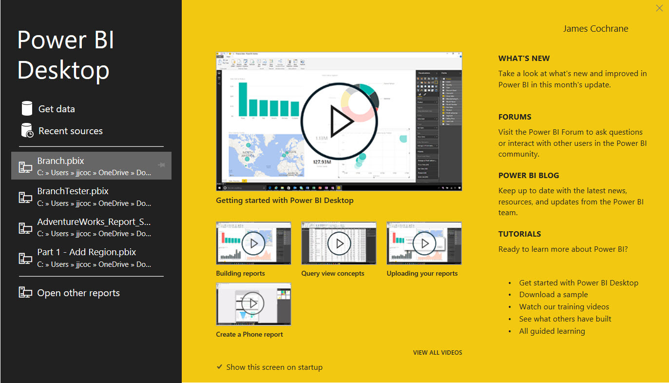 Power BI Splash Screen