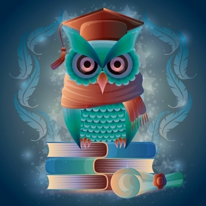 Owl Standing on Books Representing Knowledge