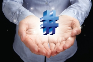 Hands Extended with Floating Hashtag